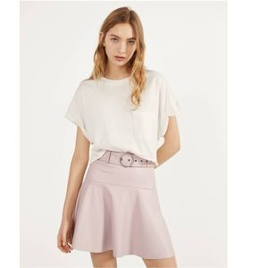 NWT Bershka Faux Leather Mini Skirt Belted